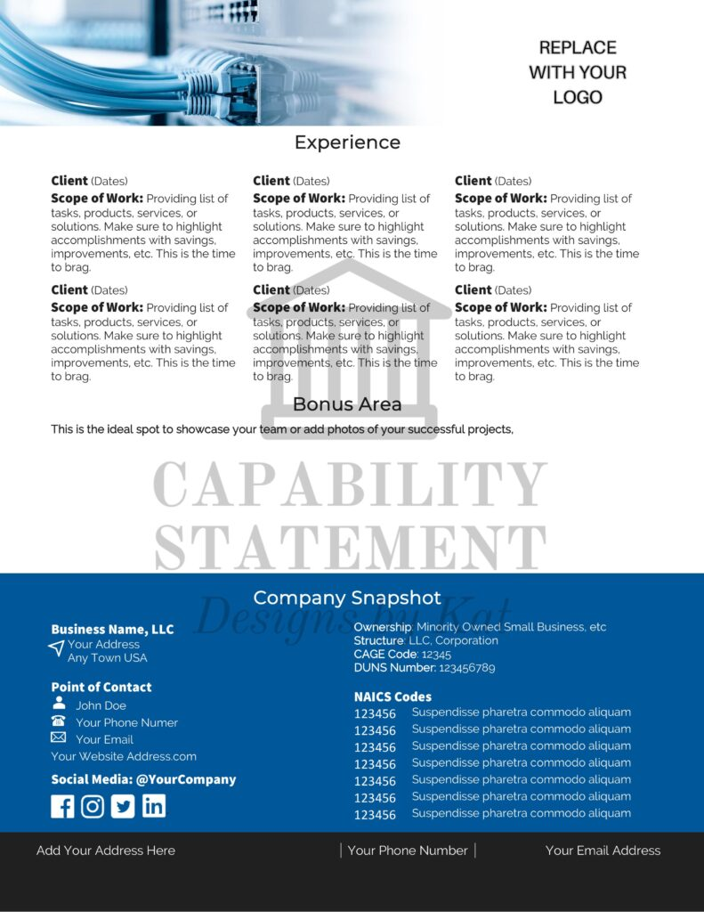 Capability Statement Design for Technology Company