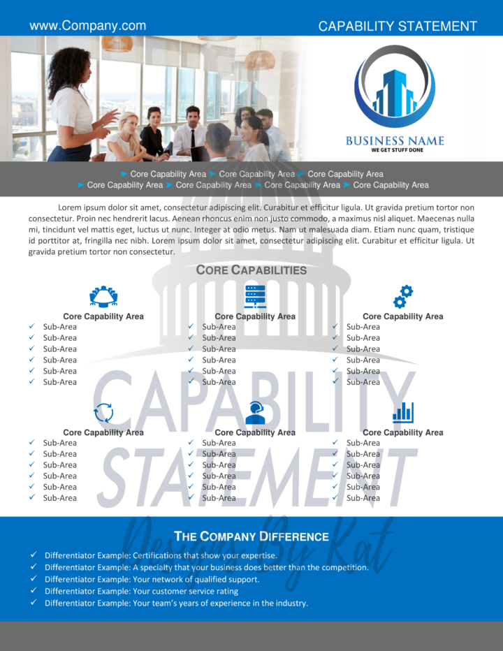 Business Consulting Capability Statement Two Page Template