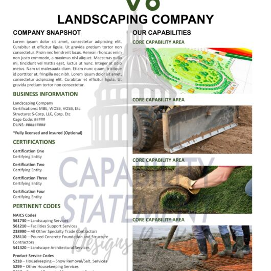 Landscaping Capability Statement Template Design
