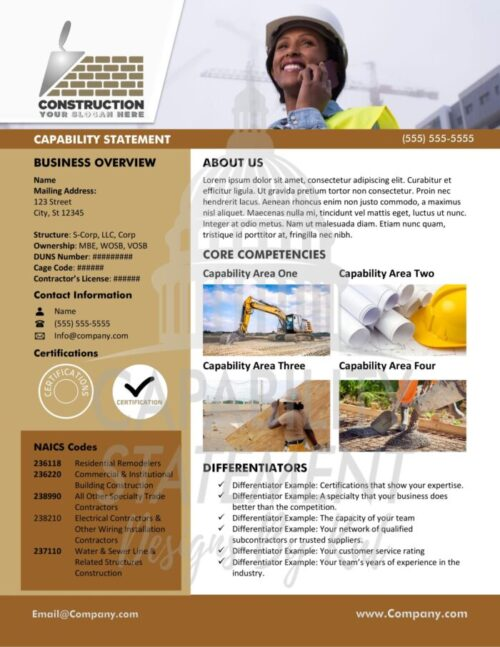 Construction Company Capability Statement for Women Owned Businesses