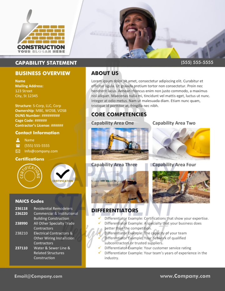 Modern Construction Capability Statement Template