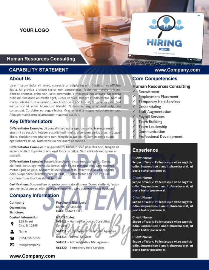 Capability Statement For Human Resources and Staffing